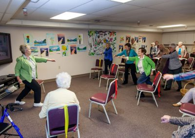 Six days a week your activities director leads a variety of engaging and fun exercise classes.