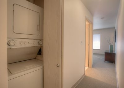 Every apartment has a washer and dryer.